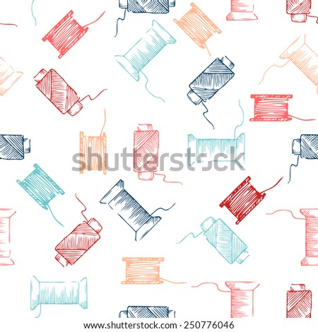 Seamless pattern of threads. Sketch pencil illustration for your design.  - stock vector