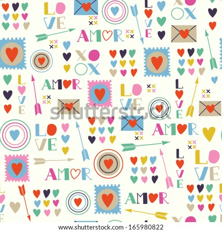 Seamless pattern of Valentines day with colorful hearts and letters in retro style. Valentines hearts. Kids elements for scrapbooking. Childish background. Hand drawn vector illustration. - stock vector