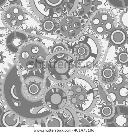 Seamless pattern of various gears. Steampunk style vector background.