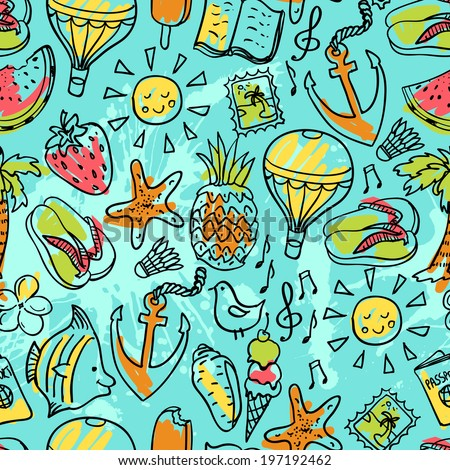 Seamless pattern of  vector doodle summer icons, hand drawn illustration - stock vector