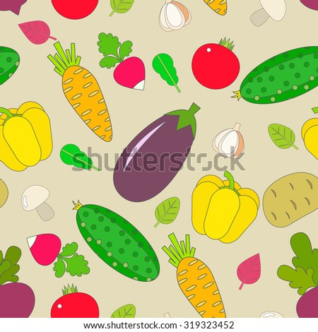 Seamless pattern of vegetables. - stock vector