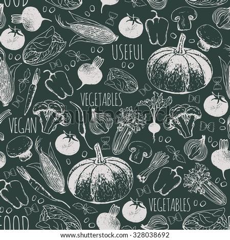 Seamless pattern of vegetables. Vegetarian food. Vector illustration. - stock vector
