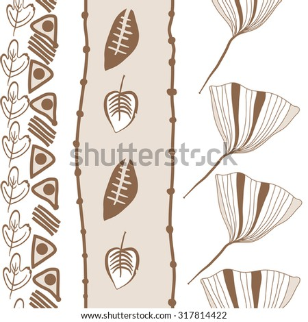 Seamless   pattern of  vertical floral motif,  leaves,  autumn theme, doodles. Hand drawn.