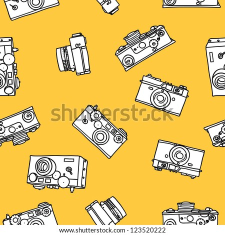seamless pattern of vintage cameras - stock vector