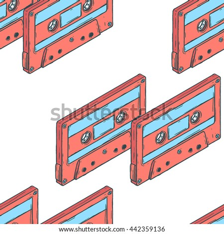 Seamless pattern of vintage pink audio cassettes in isometric view with area for text.