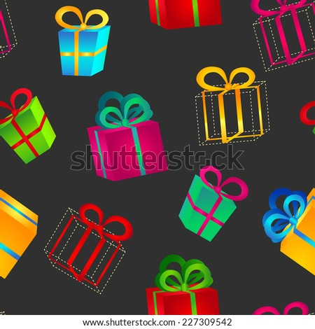 Seamless pattern of volumetric bright colorful gift boxes with bows for birthday, Christmas or New Year on a dark background - stock vector