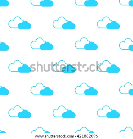 Seamless pattern of white and blue fluffy clouds for kids - stock vector
