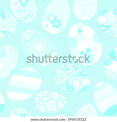 Seamless pattern of white Easter eggs with various ornaments on light blue background
