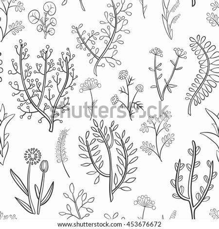 Seamless pattern of wild herbs and flowers, hand-drawn. Monochrome gamma .Vector graphics .