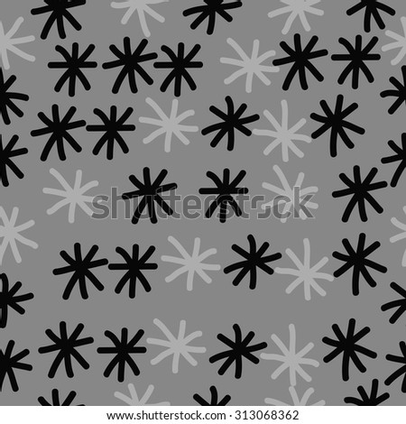 Seamless   pattern of winter motif, snowflakes, doodles. Hand drawn.