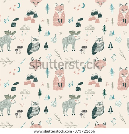 seamless pattern of woodland animals, trees, mountains