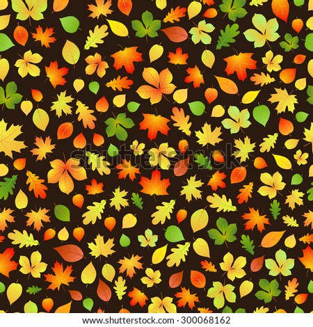 Seamless pattern of yellow, orange and green autumn leaves on black background - stock vector
