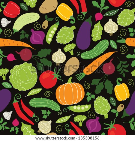 seamless pattern on a black background , vegetables illustrations - stock vector