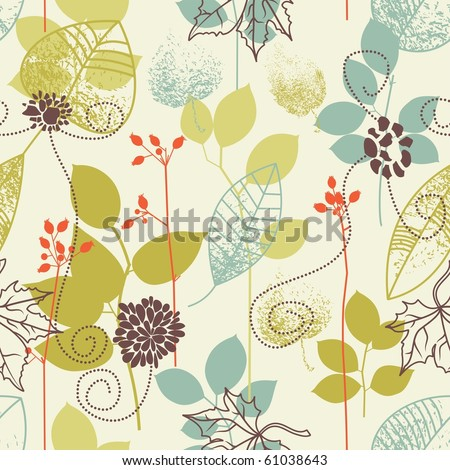 Seamless pattern on leaves theme - stock vector