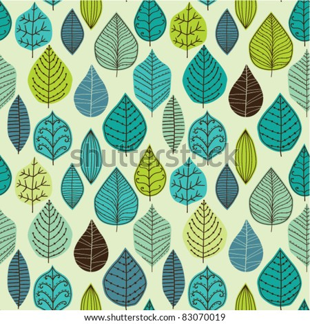Seamless pattern on leaves theme, Autumn seamless pattern with leaf