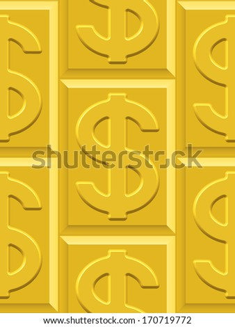 Seamless pattern on the gold dollar plates. Dollar pattern and plates pattern and  background are located on different layers - stock vector