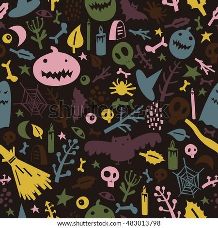 seamless pattern on theme halloween pumpkins stock vector 483013798
