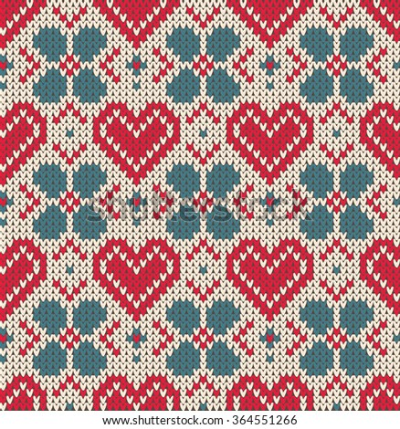Seamless pattern on the theme of holiday Valentine's Day with an image of the Norwegian and fairisle patterns. Heart, turquoise flower on a white background. Wool knitted texture. Vector Illustration - stock vector