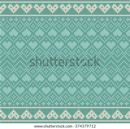 Seamless pattern on the theme of holiday Valentine's Day with an image of the Norwegian and fairisle patterns. White hearts on a turquoise background. Wool knitted texture. Vector Illustration - stock vector