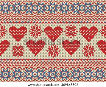Seamless pattern on the theme of Valentine's Day with an image of the Norwegian and fairisle patterns. Red hearts and snowflake on a beige background. Wool knitted texture. Vector Illustration. - stock vector