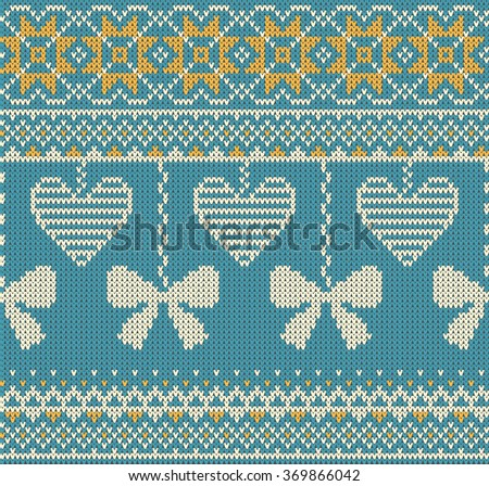Seamless pattern on the theme of Valentine's Day with an image of the Norwegian and fairisle patterns. Beige bows and hearts on a turquoise background. Wool knitted texture. Vector Illustration - stock vector