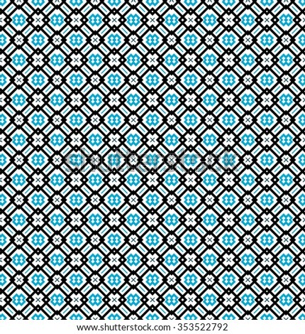Seamless pattern or background in turquoise blue, black and white colors