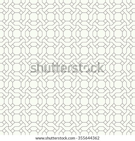 Seamless pattern. Original linear texture. Repeating geometrical shapes, lines, squares, polygons, hexagons, rhombuses. Monochrome. Backdrop. Web. Vector element of graphic design - stock vector