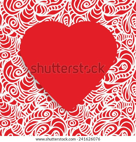 Seamless Pattern ornate with a Red Paper Heart Symbol in the middle. Happy Valentine's Day. Vector illustration EPS 10 - stock vector