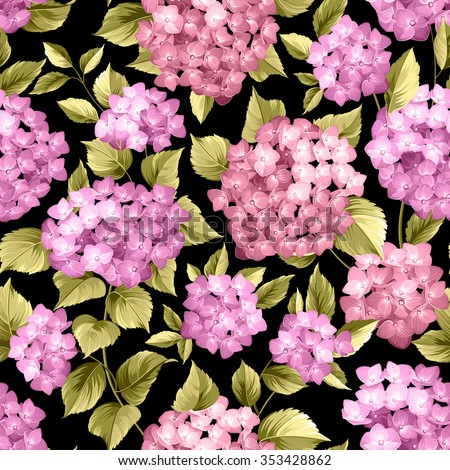 Seamless pattern over black background. Flower pattern of violet hydrangea flowers over black background. Seamless texture. Vector illustration. - stock vector
