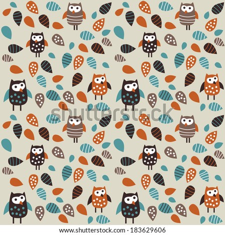 Seamless pattern owl and leaves Seamless pattern with birds and leaves. Color vector illustration. - stock vector