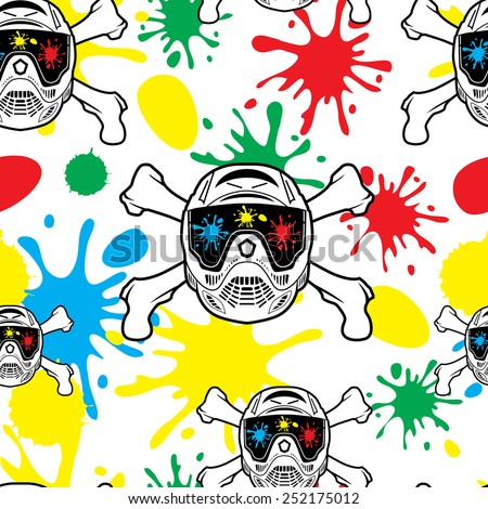 Seamless pattern paintball. Spray paint and helmets. - stock vector