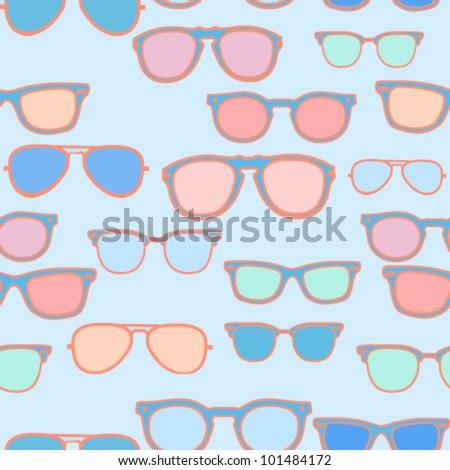 Seamless pattern - pastel colored vintage trendy sunglasses/eyeglasses on blue background - vector illustration. - stock vector
