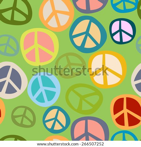 Seamless pattern peace symbol - stock vector