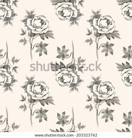 Seamless pattern pencil drawing roses on beige background vector  - stock vector