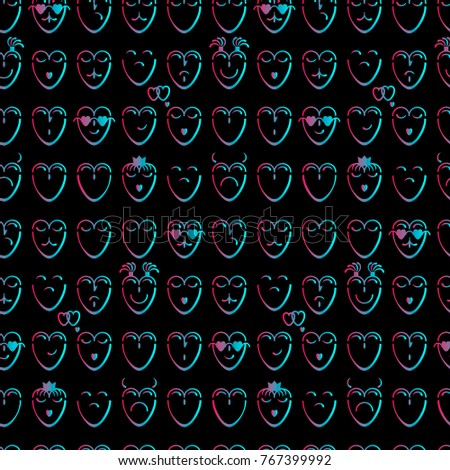 Amazing Seamless Pattern Pink And Blue Hearts With Different Moods On A Black  Background Awesome Ideas