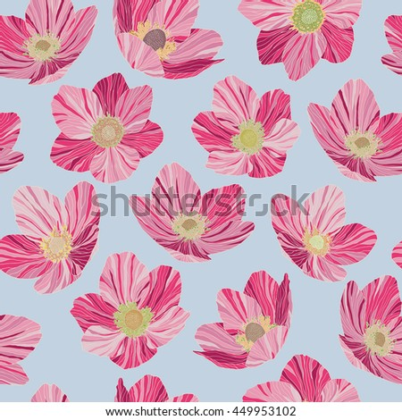 Seamless pattern pink flowers dryas, light blue background, pop art style