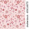 Seamless pattern - Pink flowers in all directions - stock vector