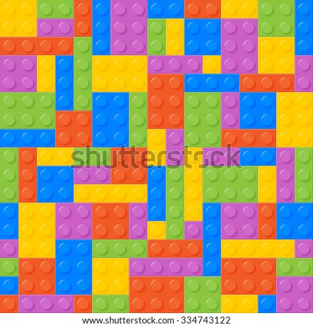 Seamless Pattern. Plastic Bricks. Balanced, Same Amount Of Each Color. Easy To Recolor. Bricks Of Each Color Are Grouped. Five Colors. Background. Vector. - stock vector