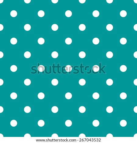 Seamless pattern polka dot style aquamarine and white - stock vector