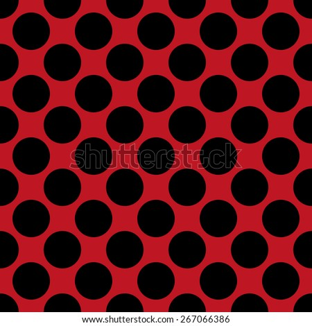 Seamless pattern polka dot style thick large circles on a monophonic background of red and black - stock vector