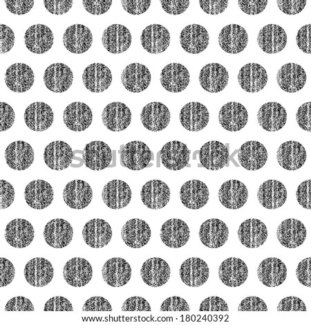 Seamless pattern polka dots on a white background. Black color circle shape with old painted texture. Retro vintage wallpaper. Template swatch vector illustration graphic design element in 8 eps - stock vector