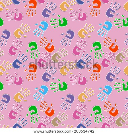 Seamless pattern, prints of hands. EPS 10 - stock vector
