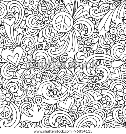 groovy coloring pages - flower power groovy psychedelic hand drawn stock vector