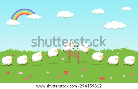 Seamless Pattern Queue Counting Sheep in Field  - stock vector