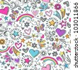 Seamless Pattern Rainbow Doodles- Back to School Sketchy Notebook Design- Hand-Drawn Vector Illustration Background - stock vector