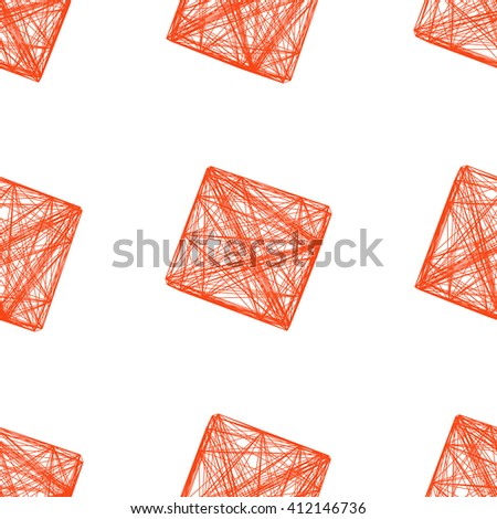 Seamless pattern red 3D cube, network, vector illustration  - stock vector