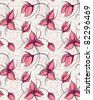 Seamless pattern red orchid flowers - stock vector