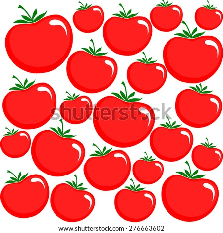 Seamless pattern. Red tomatoes background.  Vector Illustration - stock vector