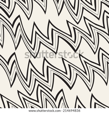 Seamless pattern. Repeating vector texture. Stylish zigzag background. Wavy striped zigzag - stock vector