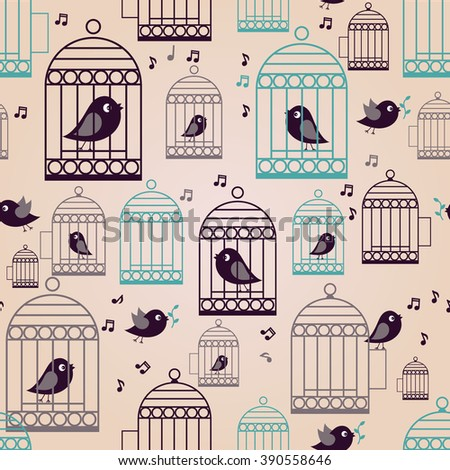 Seamless pattern. Retro background with birds cage in vintage style. - stock vector